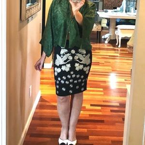Slim pencil Asian Motif embroidered Skirt